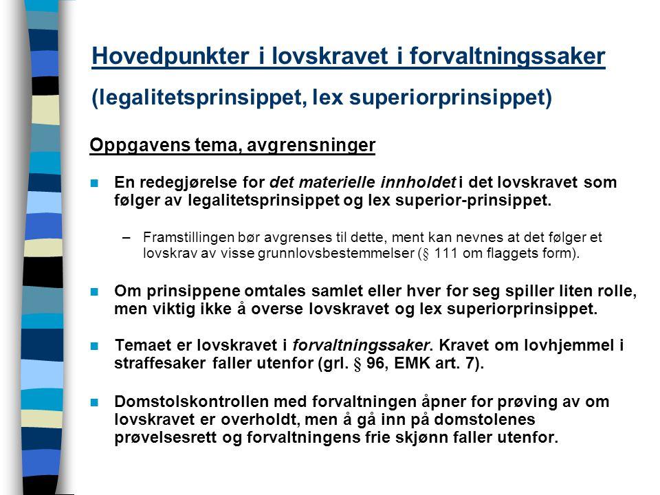 Hovedpunkter i lovskravet i forvaltningssaker (legalitetsprinsippet, lex superiorprinsippet) Oppgavens tema, avgrensninger En redegjørelse for det mat