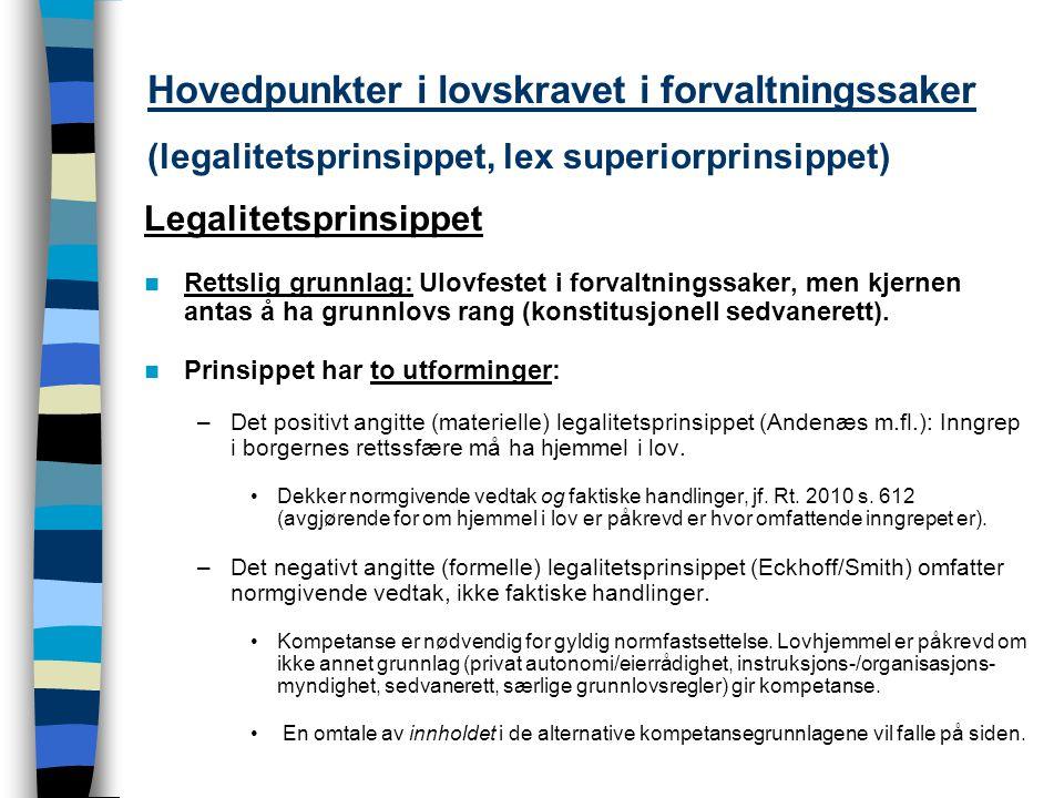 Hovedpunkter i lovskravet i forvaltningssaker (legalitetsprinsippet, lex superiorprinsippet) Legalitetsprinsippet Rettslig grunnlag: Ulovfestet i forv