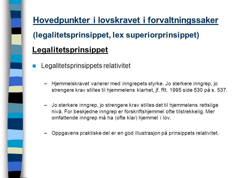 Hovedpunkter i lovskravet i forvaltningssaker (legalitetsprinsippet, lex superiorprinsippet) Legalitetsprinsippet Legalitetsprinsippets relativitet –H