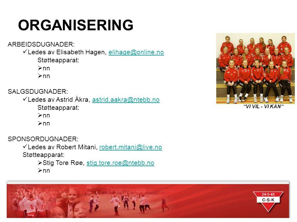 INNTEKTSFØRING DUGNADER VI VIL - VI KAN Dugnadskomiteens føring for fordeling av dugnads- Inntekter: Sponsorinntekter: For CSK håndball jenter født 2000 inntektsføres alt av sponsorinntekter til felles lagskonto.