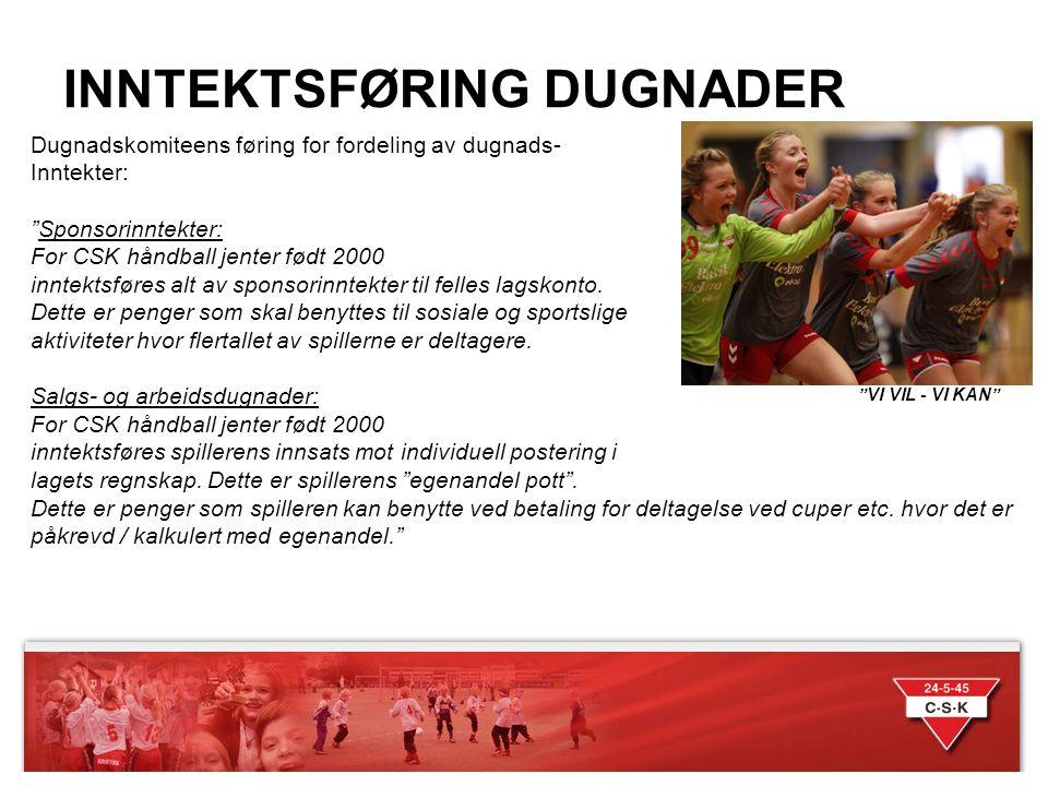 """INNTEKTSFØRING DUGNADER """"VI VIL - VI KAN"""" Dugnadskomiteens føring for fordeling av dugnads- Inntekter: """"Sponsorinntekter: For CSK håndball jenter født"""