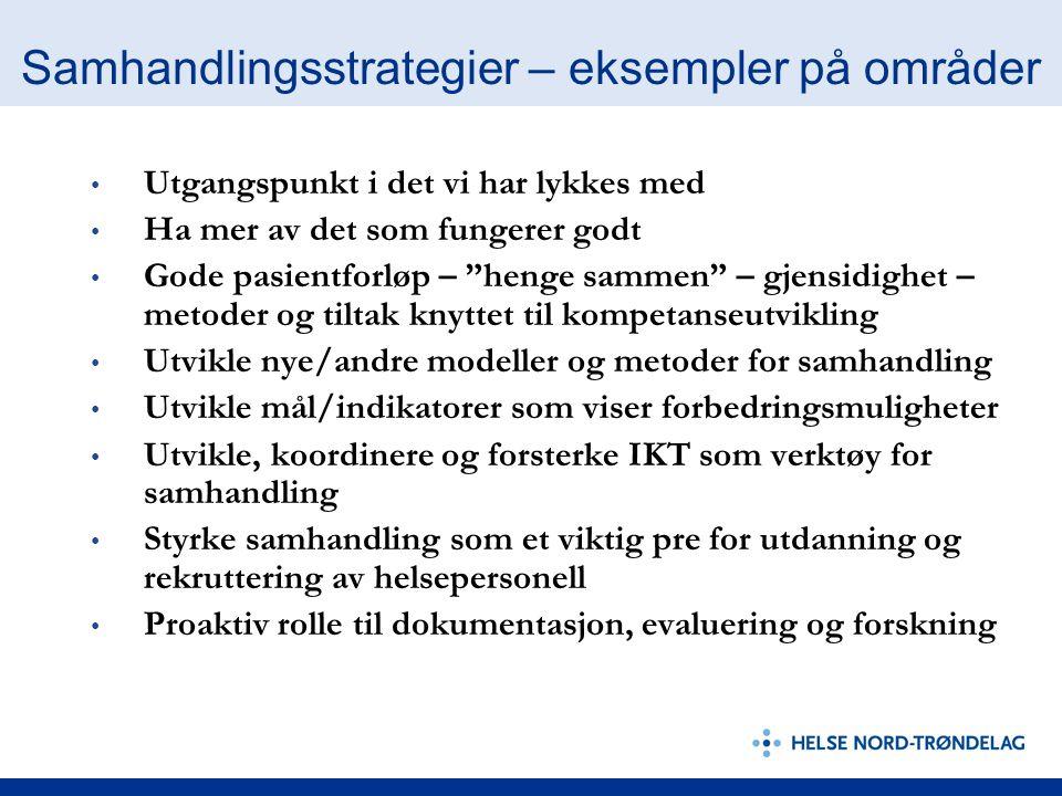 """Samhandlingsstrategier – eksempler på områder Utgangspunkt i det vi har lykkes med Ha mer av det som fungerer godt Gode pasientforløp – """"henge sammen"""""""
