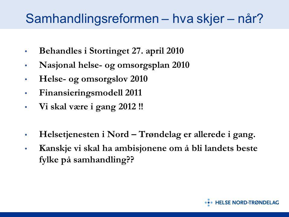 Samhandlingsreformen – hva skjer – når? Behandles i Stortinget 27. april 2010 Nasjonal helse- og omsorgsplan 2010 Helse- og omsorgslov 2010 Finansieri