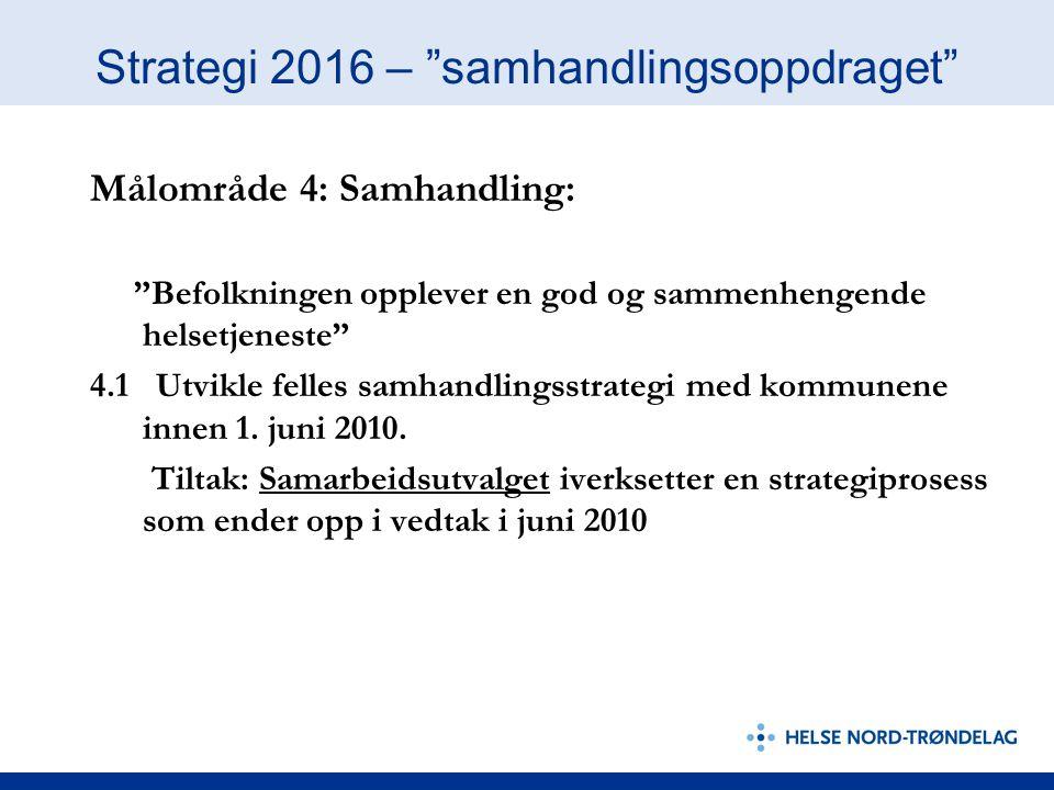 Strategi 2016 – samhandlingsoppdraget 4.2 Vi skal være koordinert i samhandlingen opp mot andre i helsetjenesten: Tiltak: opprette enhet for samhandling kartlegge samhandlingsaktiviteter informasjons og - kommunikasjonsstrategi