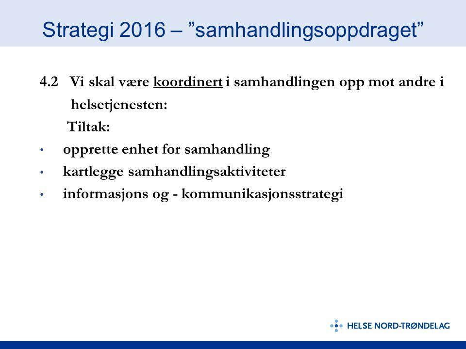 """Strategi 2016 – """"samhandlingsoppdraget"""" 4.2 Vi skal være koordinert i samhandlingen opp mot andre i helsetjenesten: Tiltak: opprette enhet for samhand"""