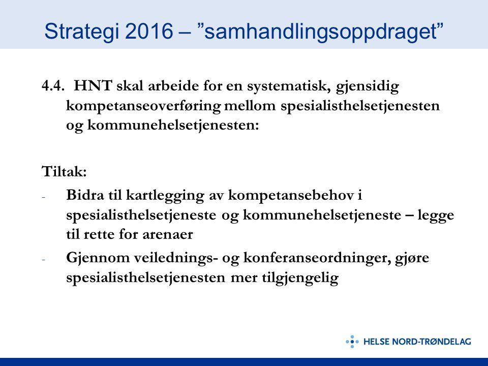 """Strategi 2016 – """"samhandlingsoppdraget"""" 4.4. HNT skal arbeide for en systematisk, gjensidig kompetanseoverføring mellom spesialisthelsetjenesten og ko"""