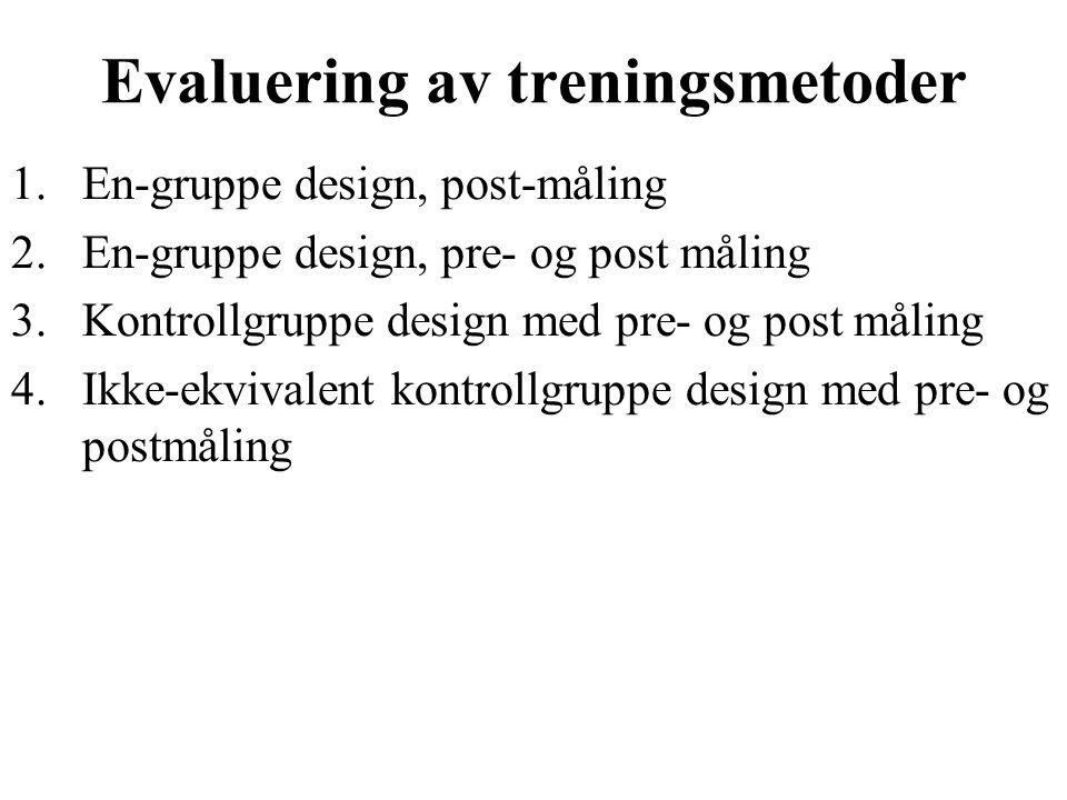 Evaluering av treningsmetoder 1.En-gruppe design, post-måling 2.En-gruppe design, pre- og post måling 3.Kontrollgruppe design med pre- og post måling 4.Ikke-ekvivalent kontrollgruppe design med pre- og postmåling