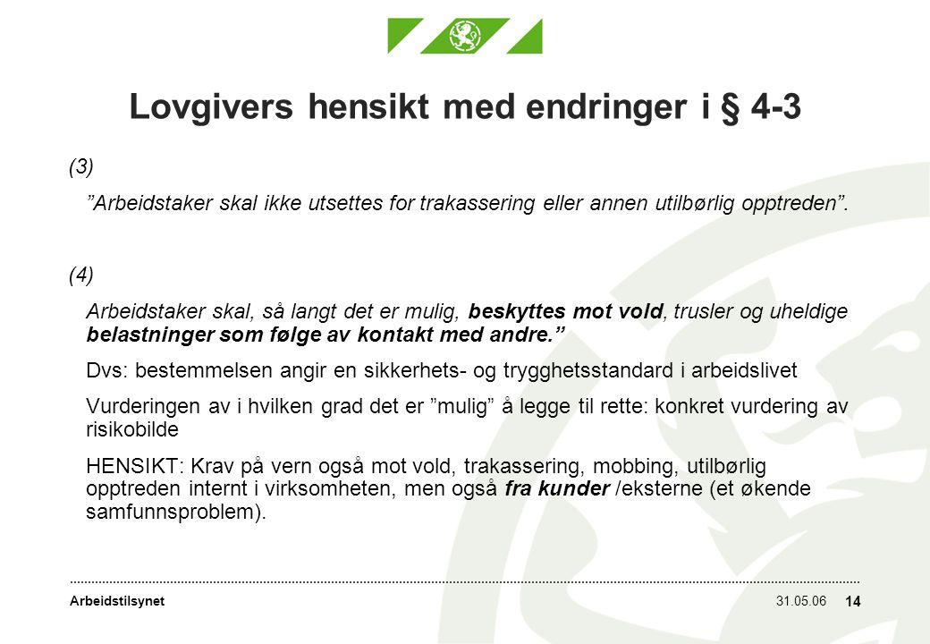 Arbeidstilsynet31.05.06 14 Lovgivers hensikt med endringer i § 4-3 (3) Arbeidstaker skal ikke utsettes for trakassering eller annen utilbørlig opptreden .