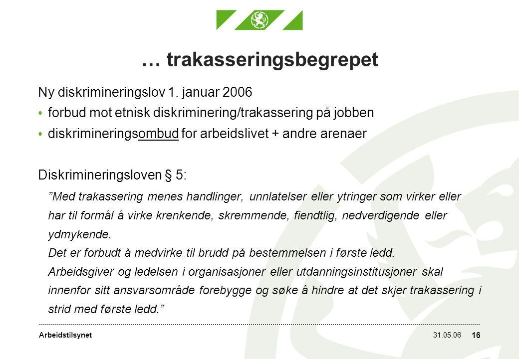 Arbeidstilsynet31.05.06 16 … trakasseringsbegrepet Ny diskrimineringslov 1.