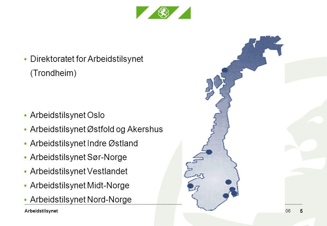 Arbeidstilsynet31.05.06 5 Direktoratet for Arbeidstilsynet (Trondheim) Arbeidstilsynet Oslo Arbeidstilsynet Østfold og Akershus Arbeidstilsynet Indre Østland Arbeidstilsynet Sør-Norge Arbeidstilsynet Vestlandet Arbeidstilsynet Midt-Norge Arbeidstilsynet Nord-Norge
