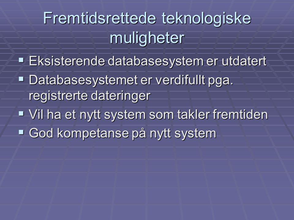 Eksisterende databasesystem er utdatert  Databasesystemet er verdifullt pga.