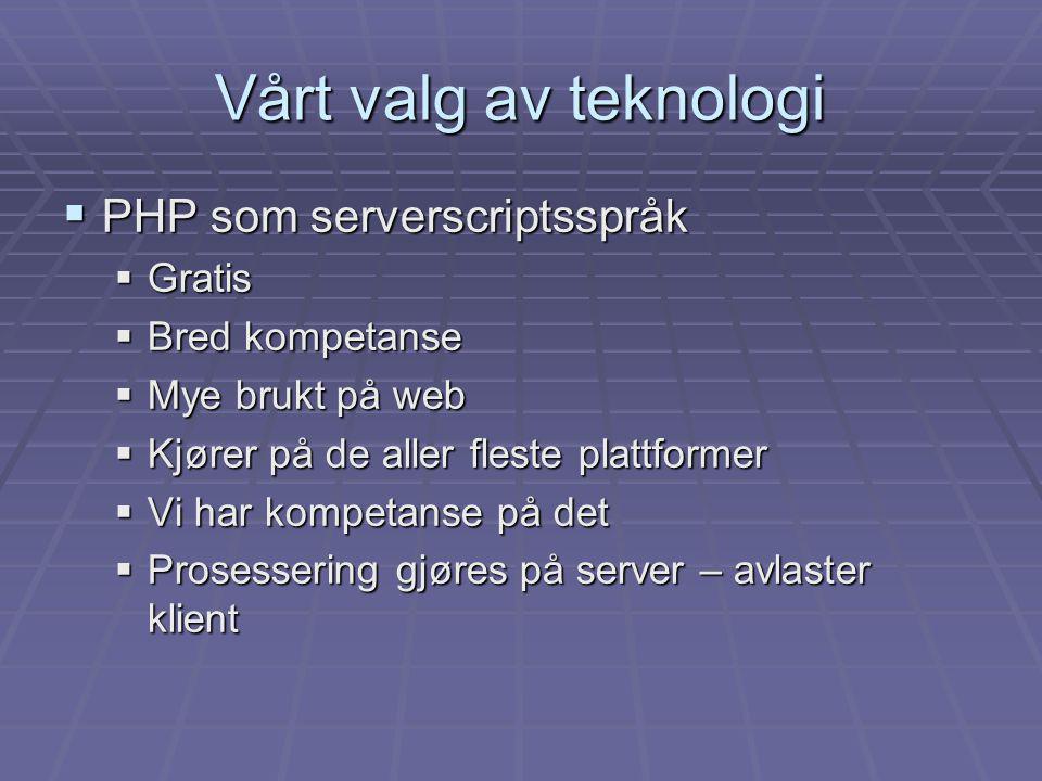  PHP som serverscriptsspråk  Gratis  Bred kompetanse  Mye brukt på web  Kjører på de aller fleste plattformer  Vi har kompetanse på det  Prosessering gjøres på server – avlaster klient Vårt valg av teknologi