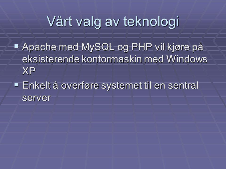  Apache med MySQL og PHP vil kjøre på eksisterende kontormaskin med Windows XP  Enkelt å overføre systemet til en sentral server Vårt valg av teknol