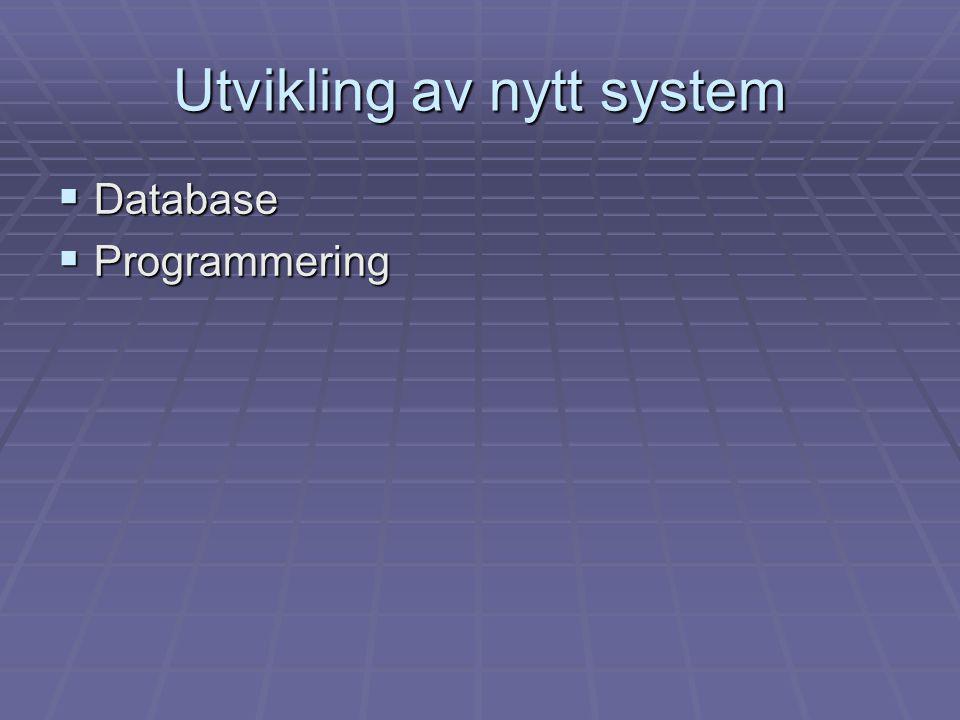 Utvikling av nytt system  Database  Programmering