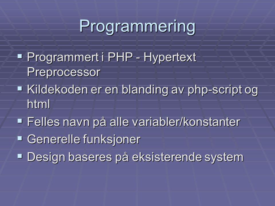 Programmering  Programmert i PHP - Hypertext Preprocessor  Kildekoden er en blanding av php-script og html  Felles navn på alle variabler/konstanter  Generelle funksjoner  Design baseres på eksisterende system