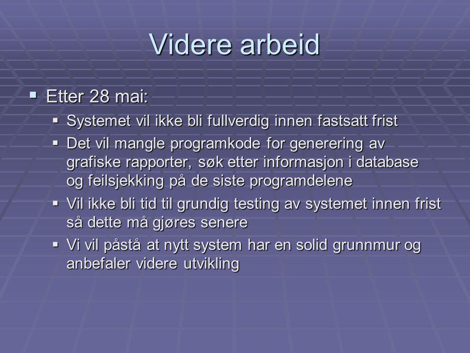  Etter 28 mai:  Systemet vil ikke bli fullverdig innen fastsatt frist  Det vil mangle programkode for generering av grafiske rapporter, søk etter i