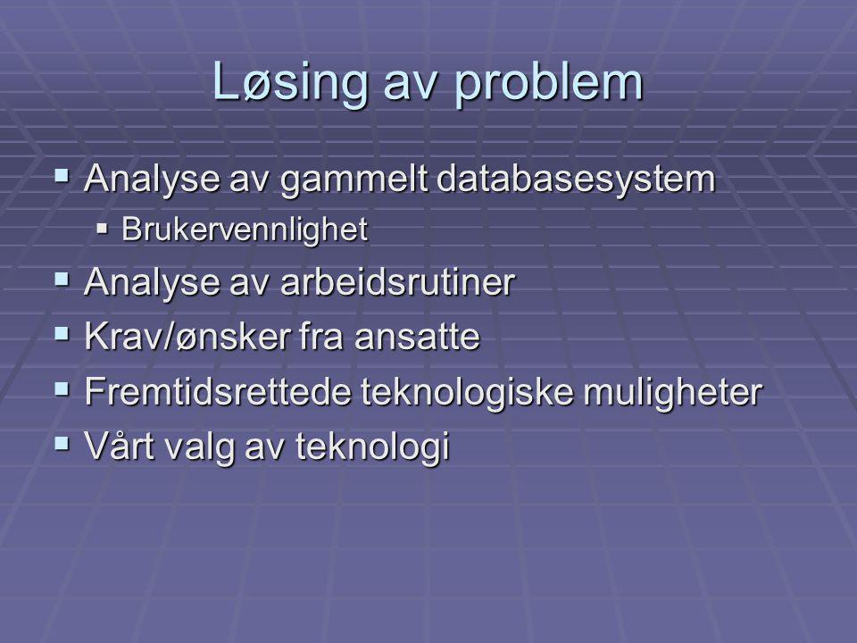 Løsing av problem  Analyse av gammelt databasesystem  Brukervennlighet  Analyse av arbeidsrutiner  Krav/ønsker fra ansatte  Fremtidsrettede teknologiske muligheter  Vårt valg av teknologi