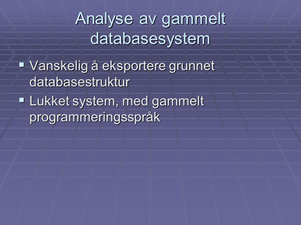  Vanskelig å eksportere grunnet databasestruktur  Lukket system, med gammelt programmeringsspråk Analyse av gammelt databasesystem