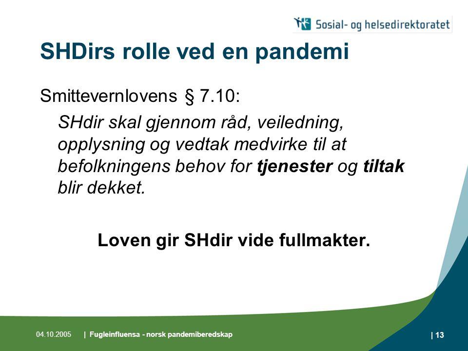 04.10.2005| Fugleinfluensa - norsk pandemiberedskap | 14 Pandemi i Norge Influensapandemi er en stor samfunnstrussel God helseberedskap i Norge Samhandling gir resultater både nasjonalt og internasjonalt.