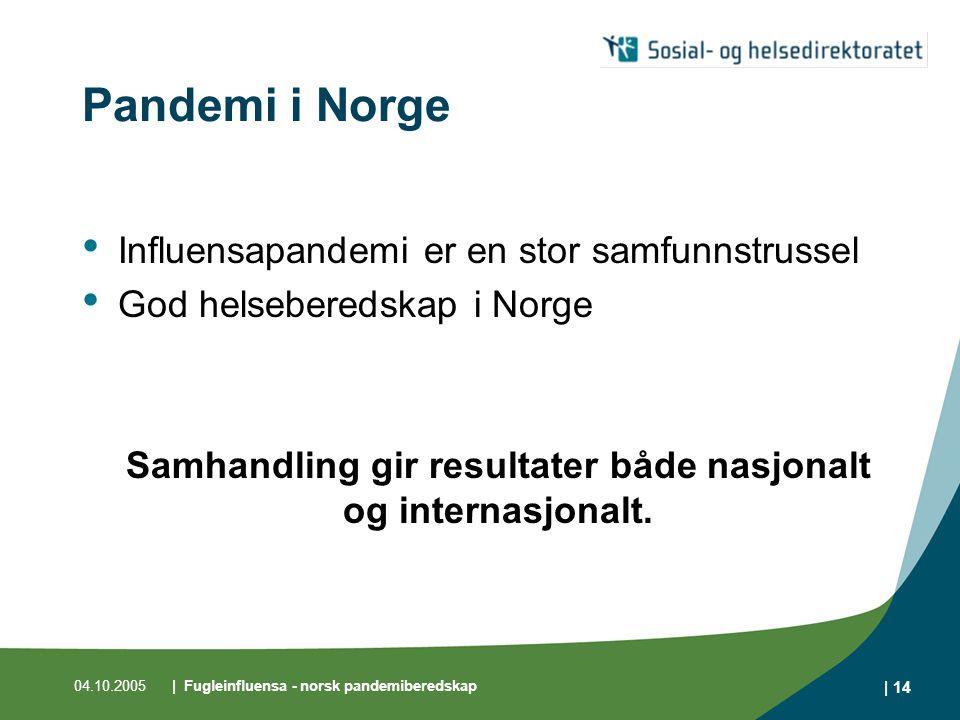 04.10.2005| Fugleinfluensa - norsk pandemiberedskap | 14 Pandemi i Norge Influensapandemi er en stor samfunnstrussel God helseberedskap i Norge Samhan