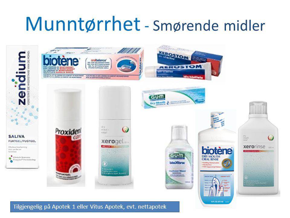 Munntørrhet - Smørende midler Tilgjengelig på Apotek 1 eller Vitus Apotek, evt. nettapotek