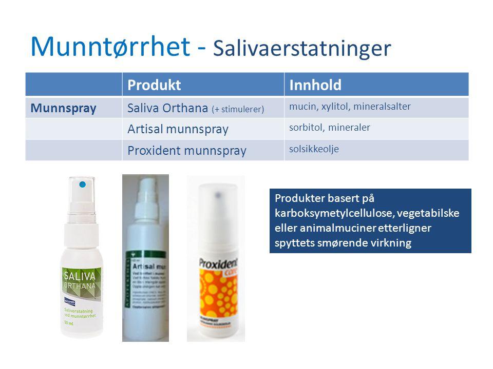 Munntørrhet - Salivaerstatninger ProduktInnhold MunnspraySaliva Orthana (+ stimulerer) mucin, xylitol, mineralsalter Artisal munnspray sorbitol, miner