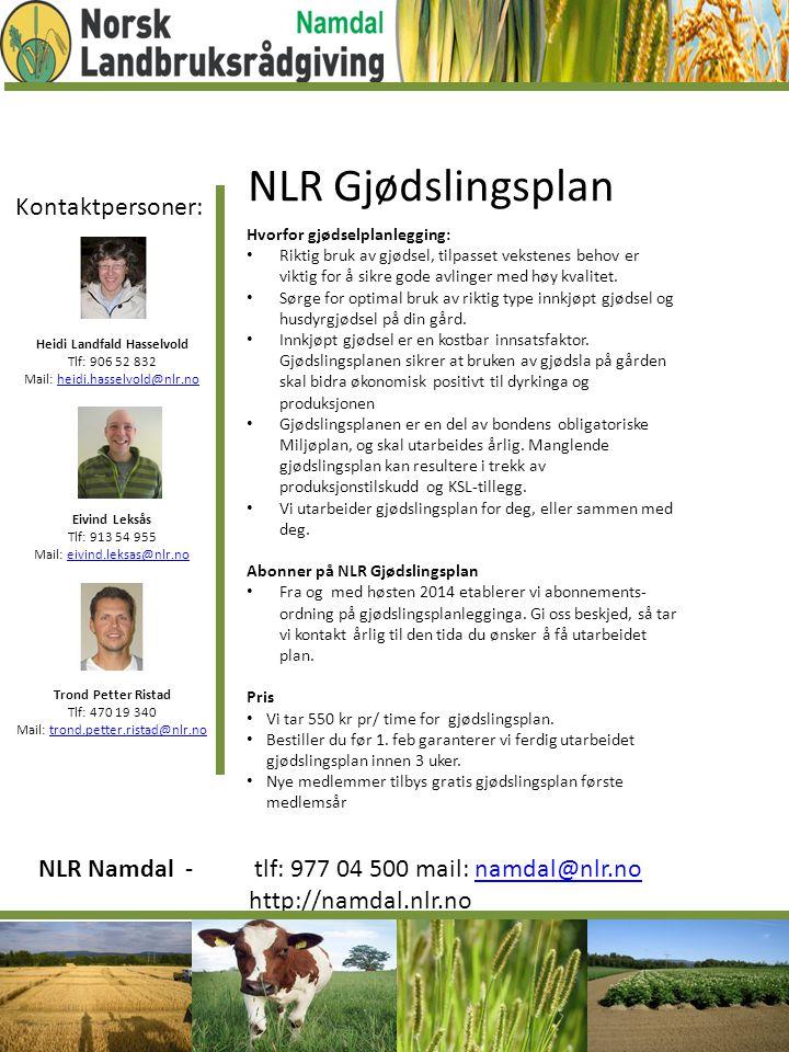 Kontaktpersoner: Heidi Landfald Hasselvold Tlf: 906 52 832 Mail: heidi.hasselvold@nlr.noheidi.hasselvold@nlr.no Eivind Leksås Tlf: 913 54 955 Mail: ei