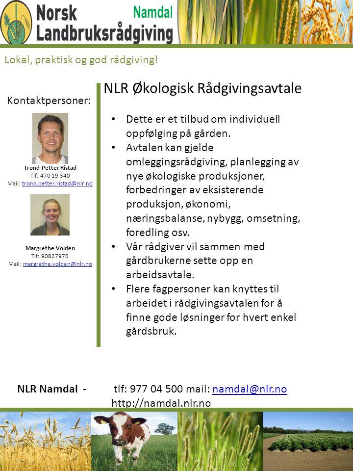 Kontaktpersoner: Trond Petter Ristad Tlf: 470 19 340 Mail: trond.petter.ristad@nlr.notrond.petter.ristad@nlr.no Margrethe Volden Tlf: 90827976 Mail: m