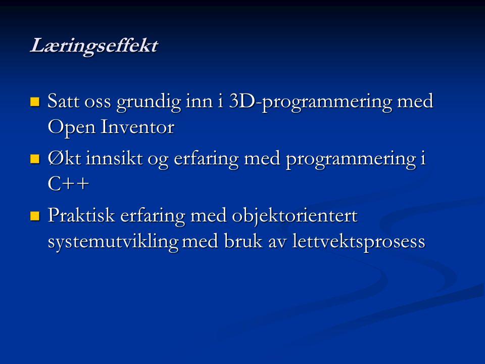 Læringseffekt Satt oss grundig inn i 3D-programmering med Open Inventor Satt oss grundig inn i 3D-programmering med Open Inventor Økt innsikt og erfaring med programmering i C++ Økt innsikt og erfaring med programmering i C++ Praktisk erfaring med objektorientert systemutvikling med bruk av lettvektsprosess Praktisk erfaring med objektorientert systemutvikling med bruk av lettvektsprosess