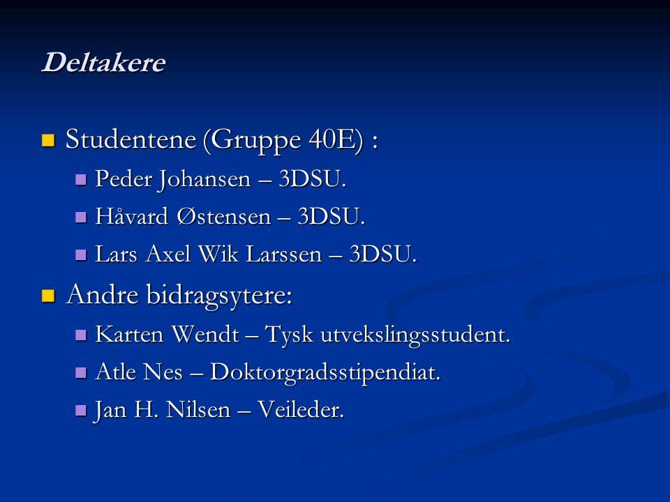 Deltakere Studentene (Gruppe 40E) : Studentene (Gruppe 40E) : Peder Johansen – 3DSU. Peder Johansen – 3DSU. Håvard Østensen – 3DSU. Håvard Østensen –