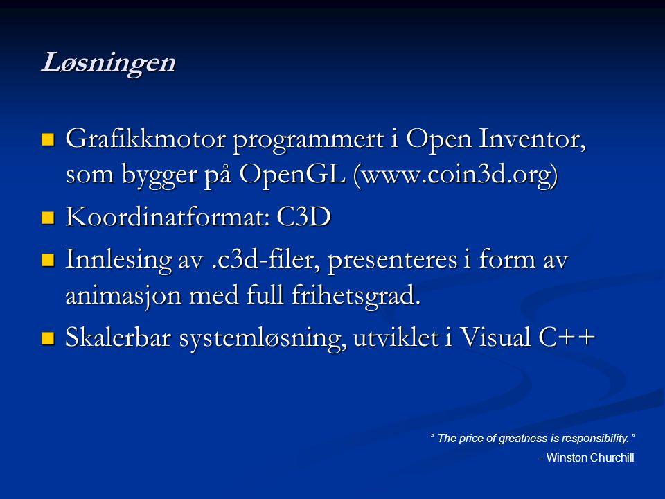 Løsningen Grafikkmotor programmert i Open Inventor, som bygger på OpenGL (www.coin3d.org) Grafikkmotor programmert i Open Inventor, som bygger på OpenGL (www.coin3d.org) Koordinatformat: C3D Koordinatformat: C3D Innlesing av.c3d-filer, presenteres i form av animasjon med full frihetsgrad.