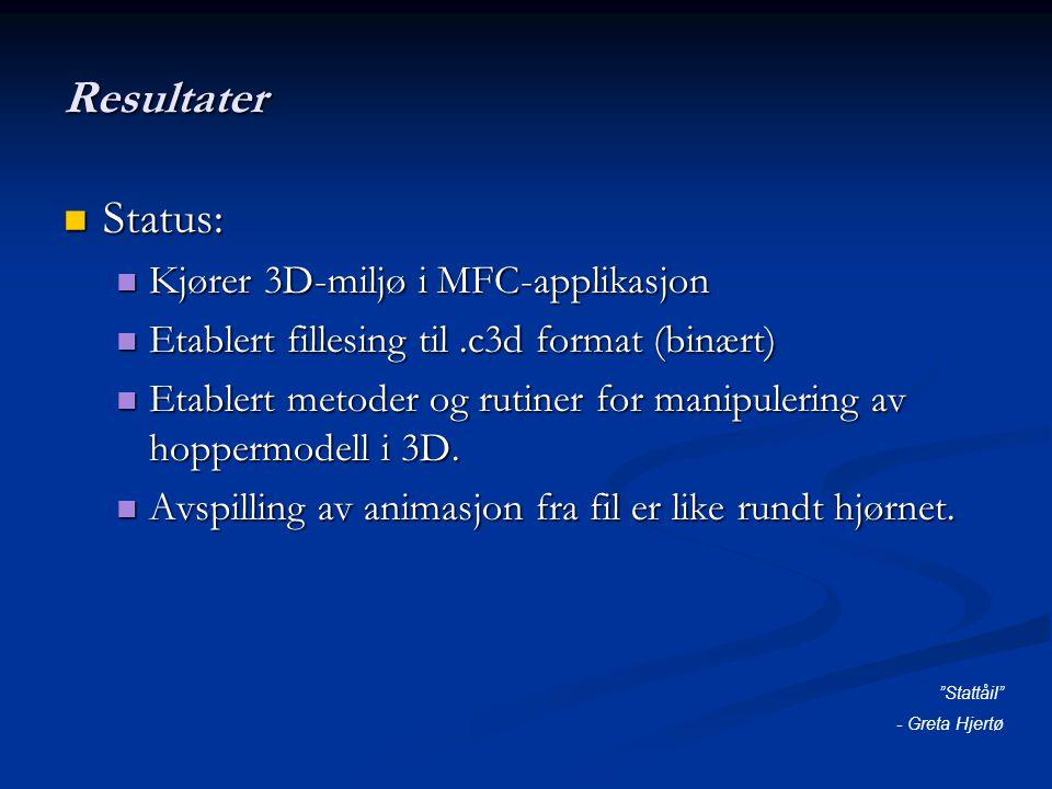 Resultater Status: Status: Kjører 3D-miljø i MFC-applikasjon Kjører 3D-miljø i MFC-applikasjon Etablert fillesing til.c3d format (binært) Etablert fillesing til.c3d format (binært) Etablert metoder og rutiner for manipulering av hoppermodell i 3D.