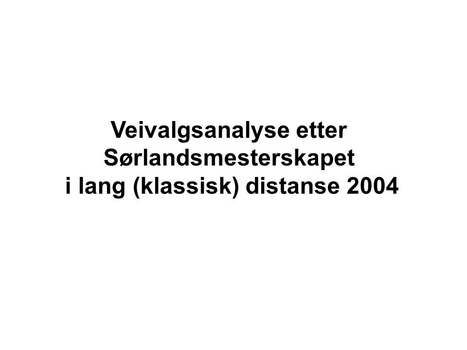 Veivalgsanalyse etter Sørlandsmesterskapet i lang (klassisk) distanse 2004