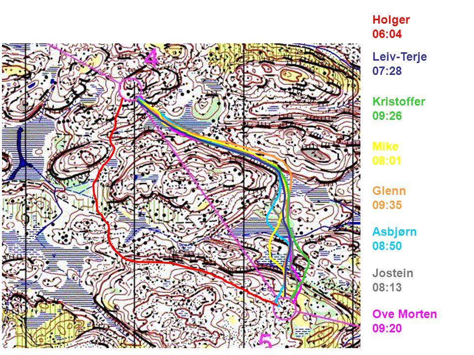 Ove Morten 08:51 Jostein 07:20 Asbjørn 08:13 Glenn 07:37 Mike 06:40 Kristoffer 07:21 Leiv-Terje 06:05 Holger 05:59
