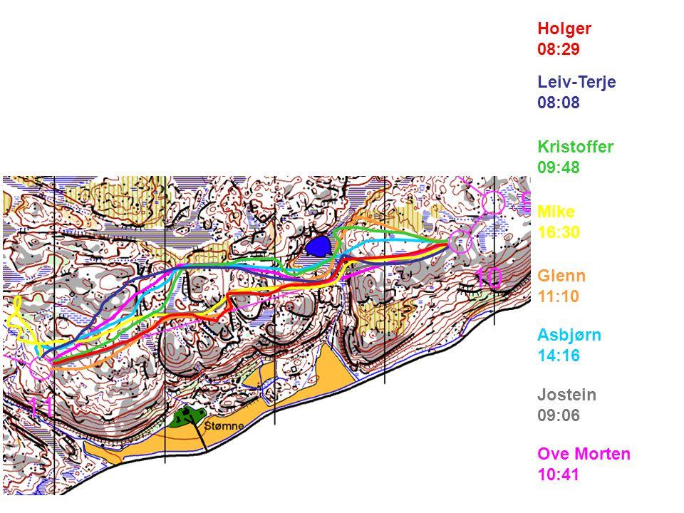 Ove Morten 10:41 Jostein 09:06 Asbjørn 14:16 Glenn 11:10 Mike 16:30 Kristoffer 09:48 Leiv-Terje 08:08 Holger 08:29