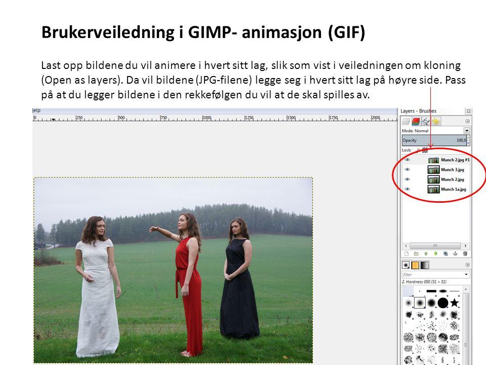 Brukerveiledning i GIMP- animasjon (GIF) Last opp bildene du vil animere i hvert sitt lag, slik som vist i veiledningen om kloning (Open as layers). D