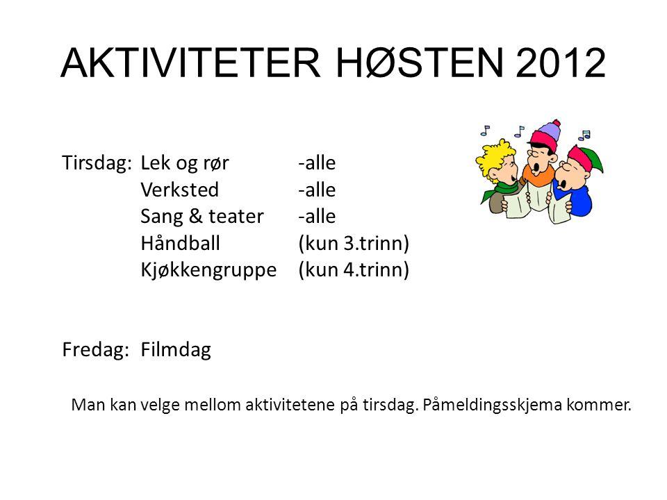 AKTIVITETER HØSTEN 2012 Tirsdag:Lek og rør -alle Verksted-alle Sang & teater -alle Håndball (kun 3.trinn) Kjøkkengruppe (kun 4.trinn) Fredag:Filmdag Man kan velge mellom aktivitetene på tirsdag.
