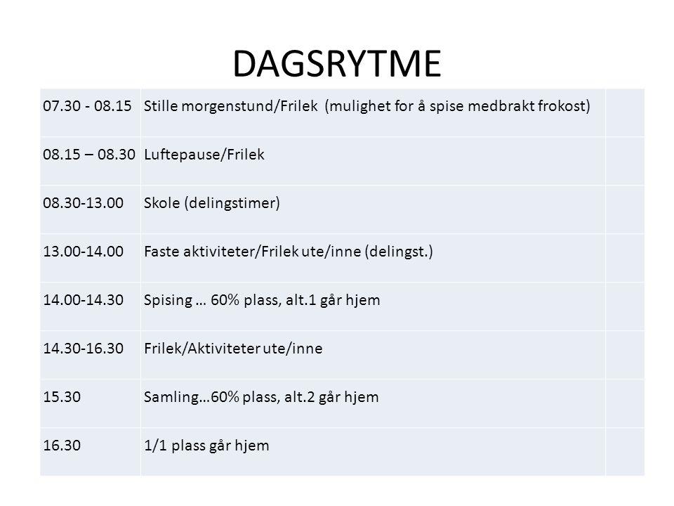 DAGSRYTME 07.30 - 08.15Stille morgenstund/Frilek (mulighet for å spise medbrakt frokost) 08.15 – 08.30Luftepause/Frilek 08.30-13.00Skole (delingstimer) 13.00-14.00Faste aktiviteter/Frilek ute/inne (delingst.) 14.00-14.30Spising … 60% plass, alt.1 går hjem 14.30-16.30Frilek/Aktiviteter ute/inne 15.30Samling…60% plass, alt.2 går hjem 16.301/1 plass går hjem