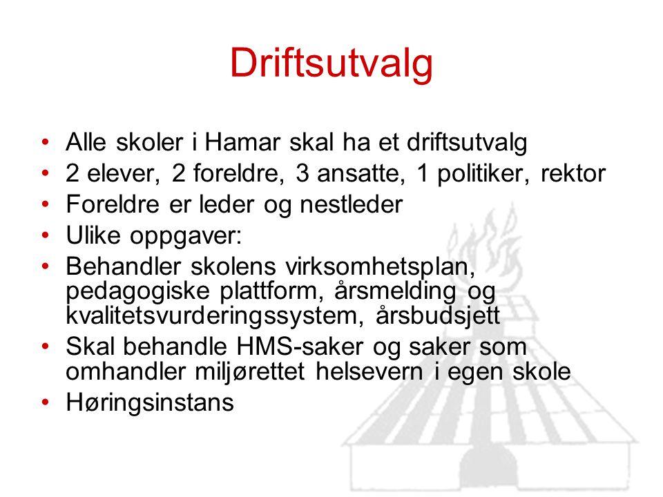 Driftsutvalg Alle skoler i Hamar skal ha et driftsutvalg 2 elever, 2 foreldre, 3 ansatte, 1 politiker, rektor Foreldre er leder og nestleder Ulike opp