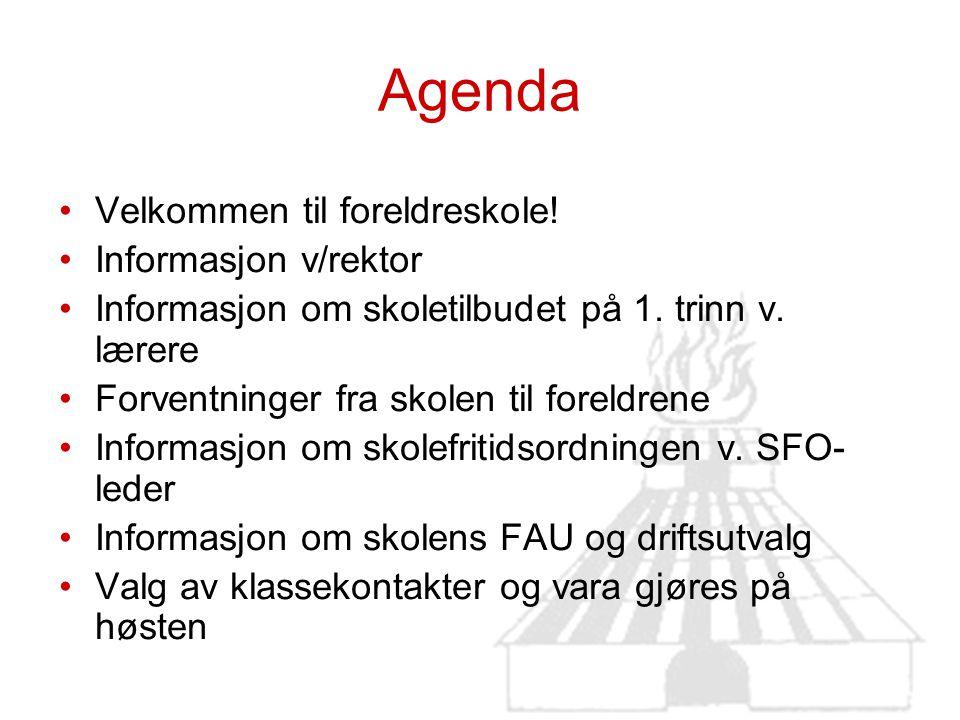 Agenda Velkommen til foreldreskole! Informasjon v/rektor Informasjon om skoletilbudet på 1. trinn v. lærere Forventninger fra skolen til foreldrene In