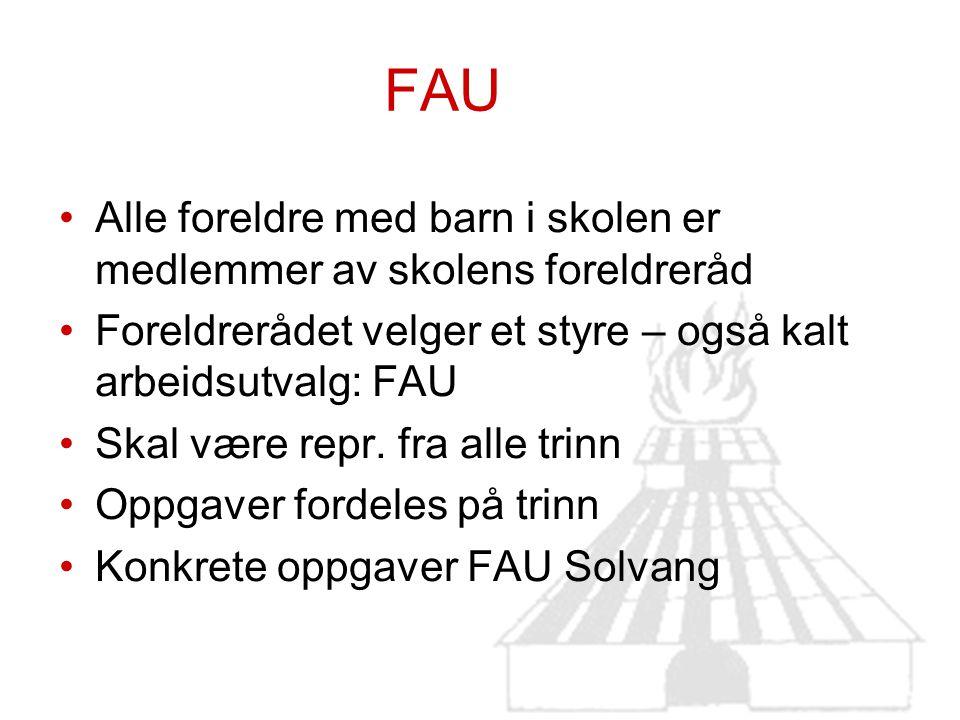FAU Alle foreldre med barn i skolen er medlemmer av skolens foreldreråd Foreldrerådet velger et styre – også kalt arbeidsutvalg: FAU Skal være repr. f