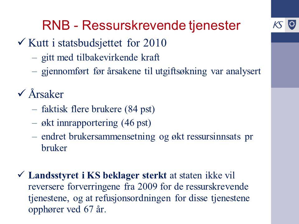 RNB - Ressurskrevende tjenester Kutt i statsbudsjettet for 2010 –gitt med tilbakevirkende kraft –gjennomført før årsakene til utgiftsøkning var analys