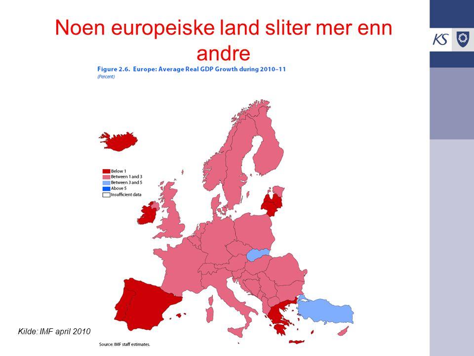Noen europeiske land sliter mer enn andre Kilde: IMF april 2010