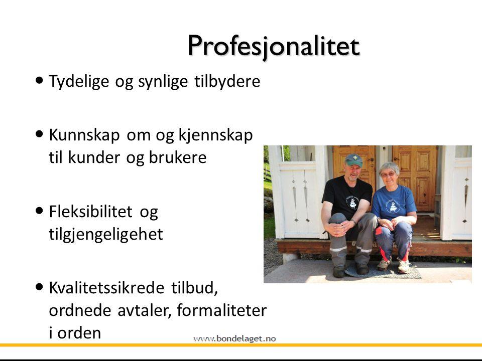 Profesjonalitet Tydelige og synlige tilbydere Kunnskap om og kjennskap til kunder og brukere Fleksibilitet og tilgjengeligehet Kvalitetssikrede tilbud, ordnede avtaler, formaliteter i orden