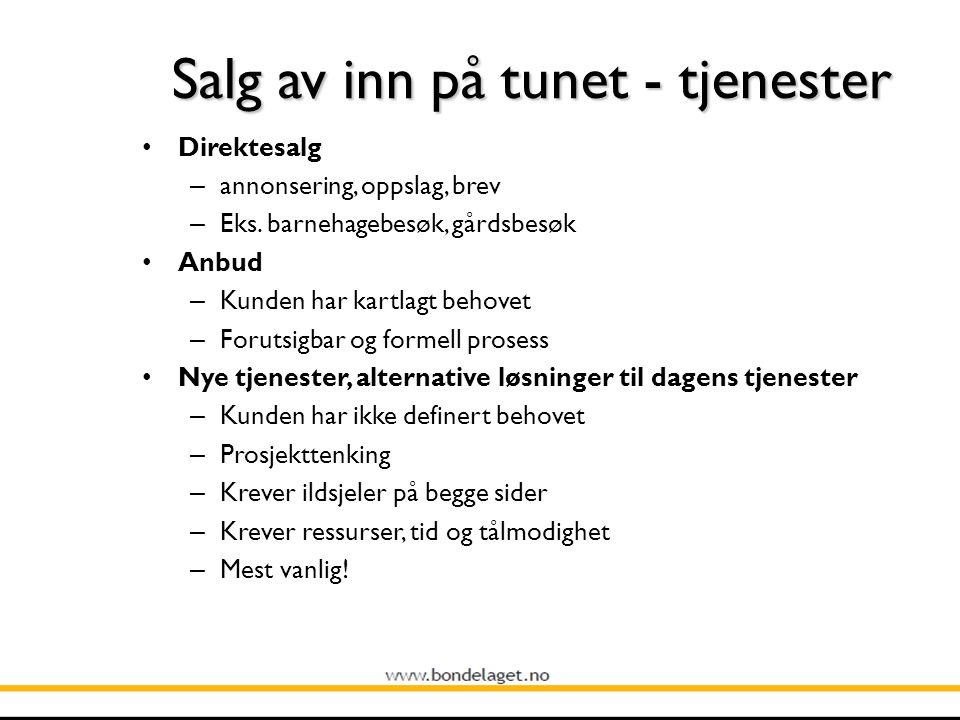 Salg av inn på tunet - tjenester Direktesalg – annonsering, oppslag, brev – Eks.