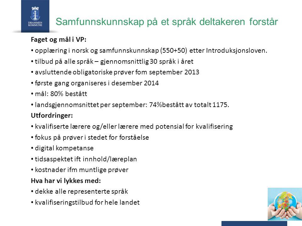 Samfunnskunnskap på et språk deltakeren forstår Faget og mål i VP: opplæring i norsk og samfunnskunnskap (550+50) etter Introduksjonsloven.