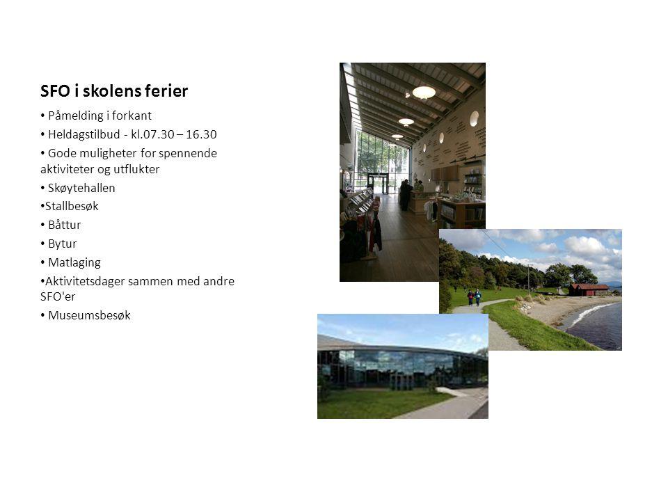 SFO i skolens ferier Påmelding i forkant Heldagstilbud - kl.07.30 – 16.30 Gode muligheter for spennende aktiviteter og utflukter Skøytehallen Stallbes