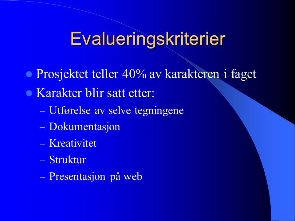 Evalueringskriterier Prosjektet teller 40% av karakteren i faget Karakter blir satt etter: – Utførelse av selve tegningene – Dokumentasjon – Kreativitet – Struktur – Presentasjon på web