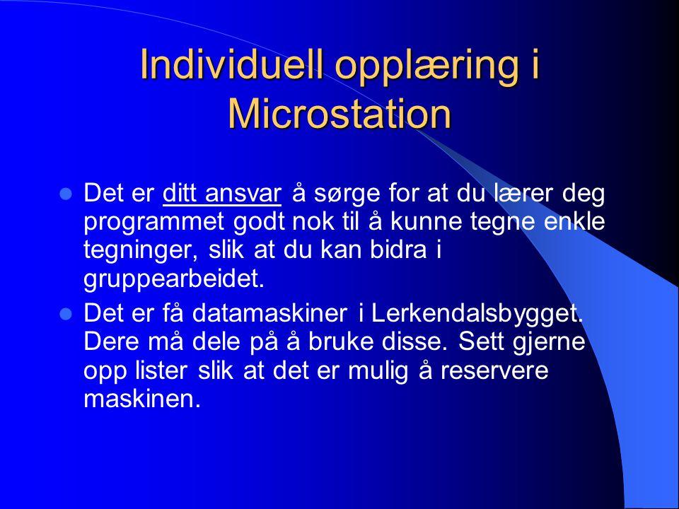 Individuell opplæring i Microstation Det er ditt ansvar å sørge for at du lærer deg programmet godt nok til å kunne tegne enkle tegninger, slik at du