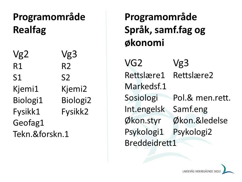 Programfagvalg studiespesialiserende VG1 Innen: